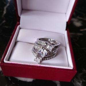 Sterling Silver White Topaz/CZ bridal ring set